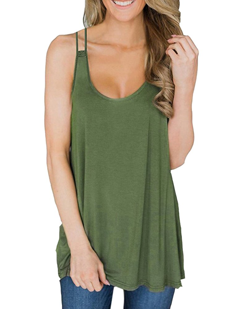 Womens Long Flowy Racerback Tank Tops Loose Fit Casual Summer Workout Vest Sleeveless Tunic Shirt Blouse