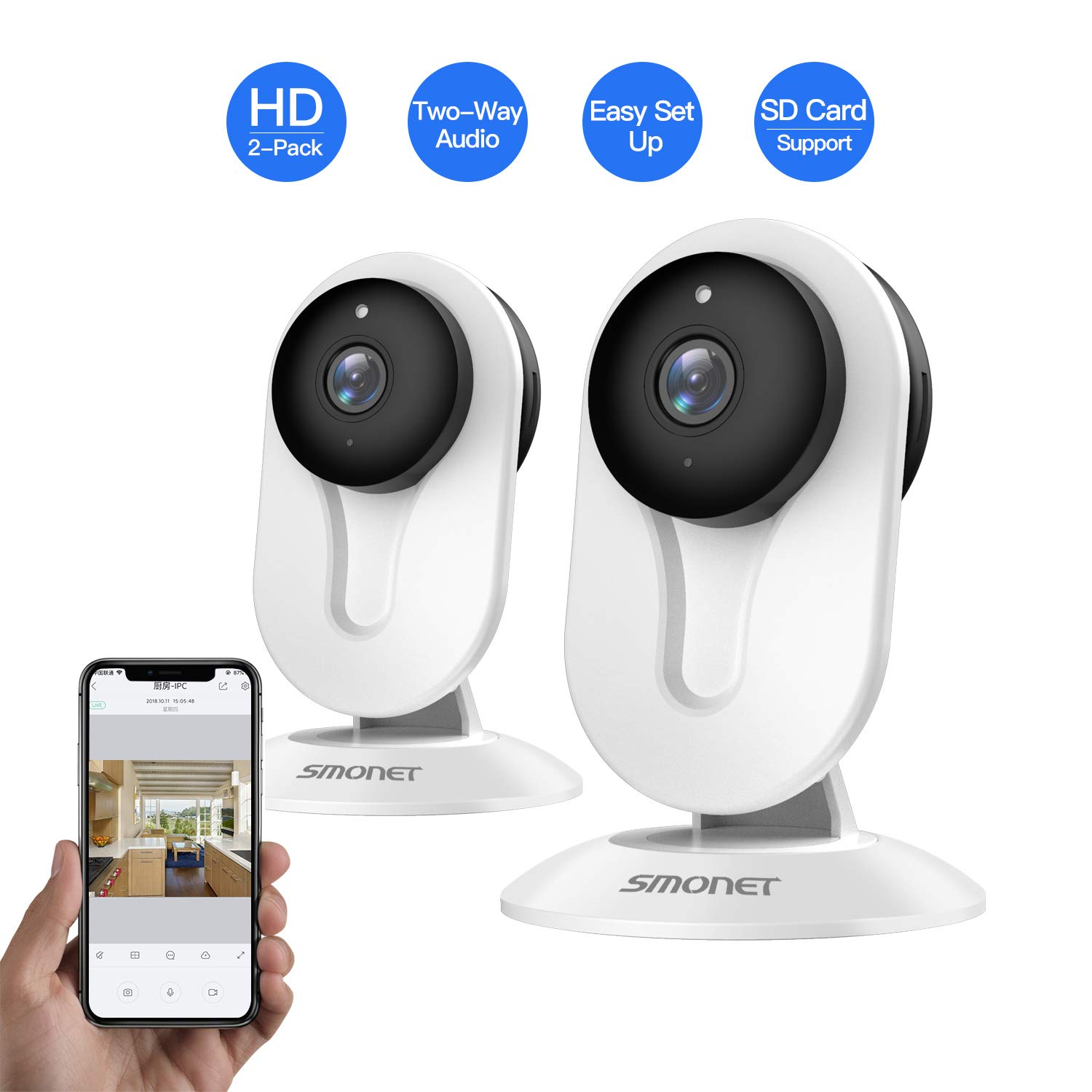 SMONET Security Camera Wireless, HD Wireless IP Camera Built in Two-Way Audio, Security Surveillance CCTV Camera with Night Vision-Cloud Service Available 2packs,White