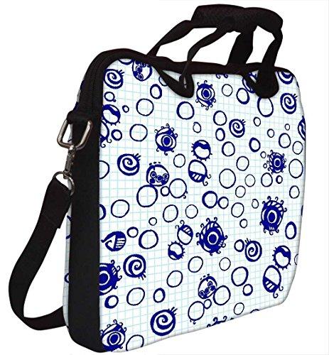 Snoogg Bubbles Blau 30,5cm 30,7cm 31,8cm Zoll Laptop Notebook Computer Schultertasche Messenger-Tasche Griff Tasche mit weichem Tragegriff abnehmbarer Schultergurt für Laptop Tablet PC Ultrabook Ch
