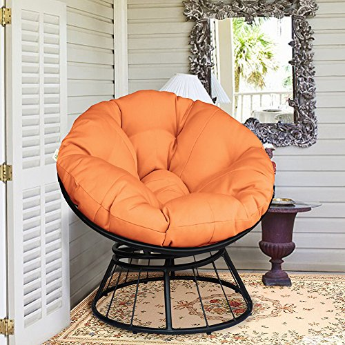 ART TO REAL Deluxe 360 Swivel Papasan Chair with Soft Cushion, Outdoor Patio Swivel Glider Rocking Lounge Chair, Deep Seating Moon Chair, Solid Twill Fabric Orange Cushion Swivel Outdoor Lounge Chair