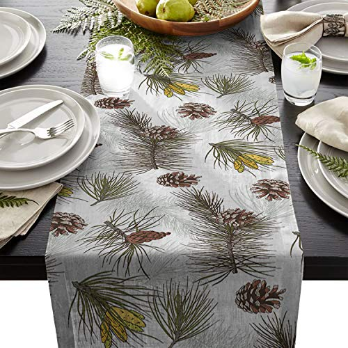 Yun Nist Table Runner Dresser Scarf Cotton Linen Fabric Tablecloth, Christmas Oine Cone Modern Arts Tablecovers for Home Kitchen Wedding Party Dining Room Holiday (Oine)