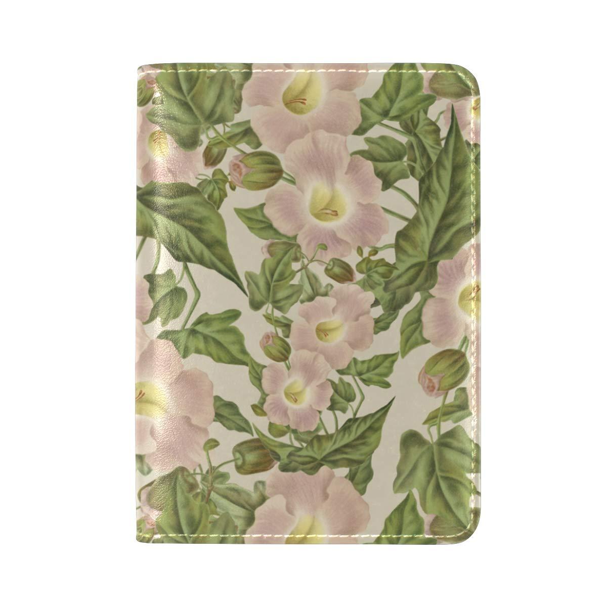 Pink Flower Green Leaf Pattern Vintage Antique One Pocket Leather Passport Holder Cover Case Protector for Men Women Travel