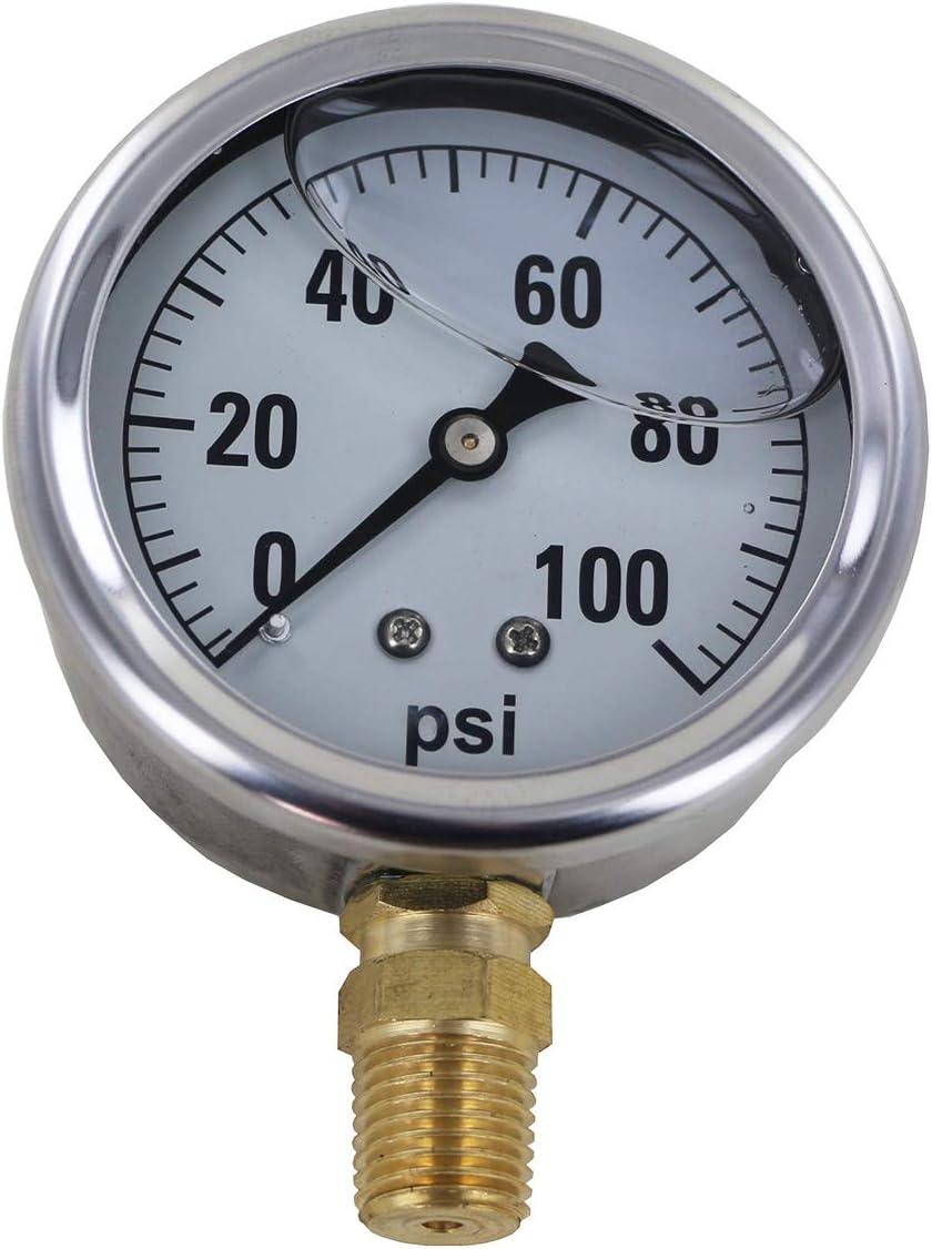 Bundle, 2 Items Shurflo 8000-533-250 Bypass 115 VAC Diaphragm Pump with 100 PSI Pressure Gauge