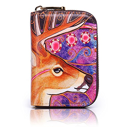 Ladies RFID Zipper Leather Box Purple Credit Fox Cartoon Holder Case APHISONUK Card for Gift Small Wallet with Pocket Purse Women Patterns Accordion Genuine Card ID Security Travel for Style Deer Red Wallet g4pwwEx