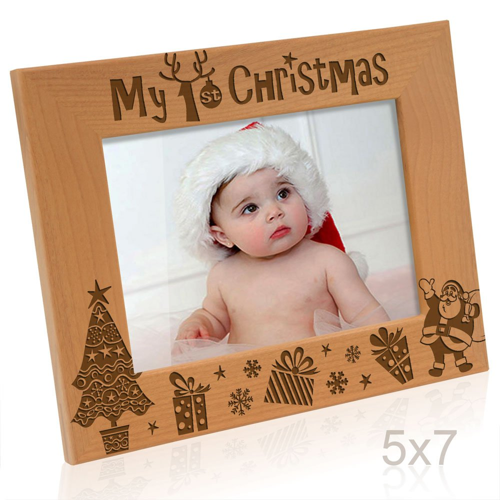 My First (1st) Christmas Classic Santa Design - Engraved Natural Wood Picture Frame (4' x 6' Horizontal) Kate Posh