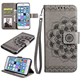 Shinyzone iPhone 7 Plus Leather Wallet Case,iPhone 8 Plus Case,Flower Painted Pattern Soft TPU Bumper Inner Shell Shockproof Cover with Card Holder & Magnetic Closure,Gray
