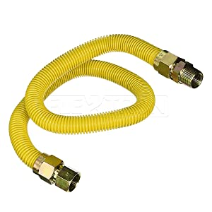 Flextron FTGC-YC-34-24P 24 Inch Flexible Epoxy Coated High BTU Gas Line Connector W/ 1 Inch Outer Diameter & 3/4 Inch FIP x 3/4 Inch MIP Fitting, Yellow/Stainless Steel, Excellent Corrosion Resistance