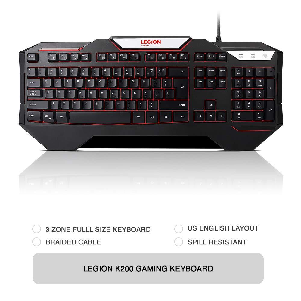 Lenovo Legion K200 Backlit Gaming Keyboard, for Lenovo Legion Y720, Y520,  Y530 Gaming Laptops, GX30P93887