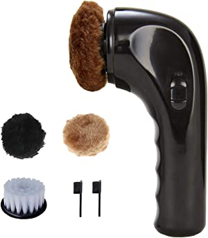 Mini Electric Shoe Shine Kit, Hitti Electric Shoe Polisher Brush Shoe Shiner Dust Cleaner Portable Wireless Leather Care Kit for Shoes, Bags, Sofa