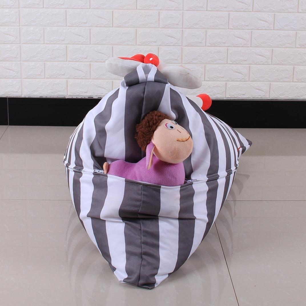 DDLBiz Kids Stuffed Animal Plush Toy Storage Bean Bag Chair Soft Pouch Stripe Fabric Chair (E) by DDLBiz (Image #5)
