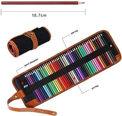 Juego de 50 lápices de colores para colorear, lápices de colores artísticos con estuche de lienzo enrollable portátil, sacapuntas para colorear, dibujo,para adultos, libros de colorear: Amazon.es: Oficina y papelería