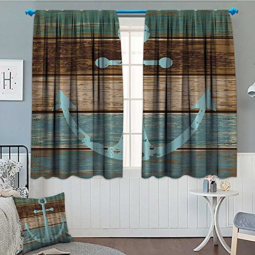 Nautical Window Curtains - SeptSonne-Home Nautical Anchor Rustic Wood - - Water Blackout Window Curtain Soap Customized Curtains 52
