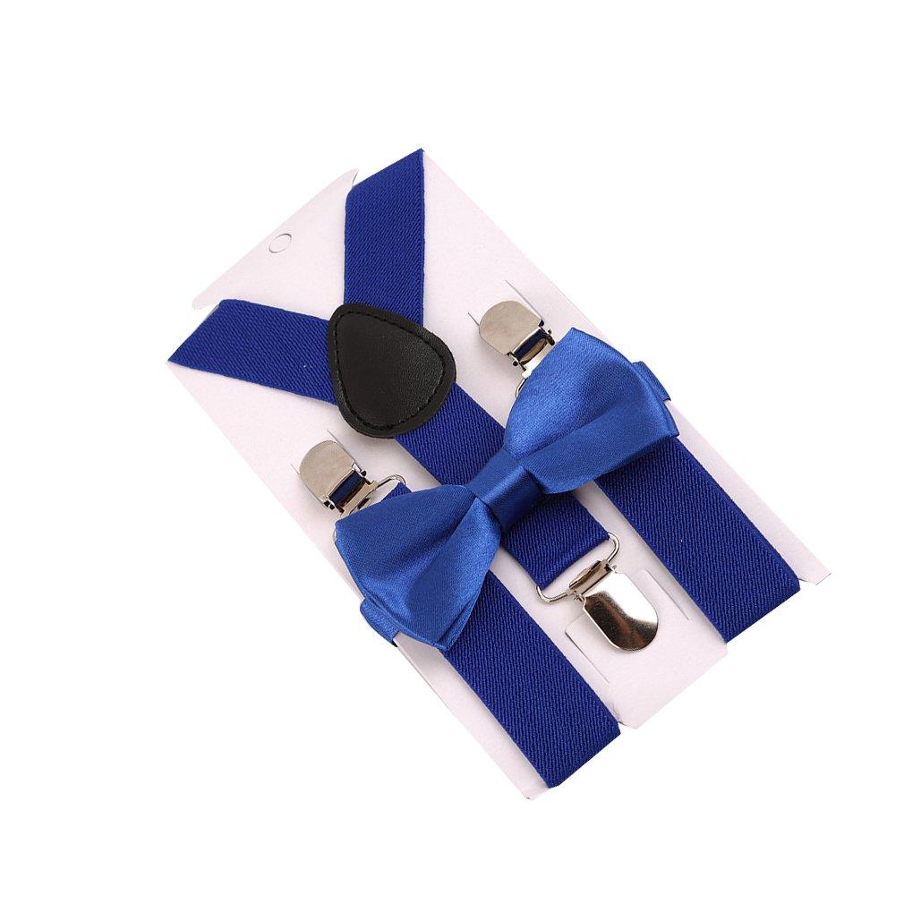 HENGSONG Unisex Kids Boys Girls Suspender Elastic Adjustable Clip-On Braces with bow tie combo
