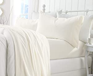 Great Bay Home Extra Soft Cozy Velvet Plush Sheet Set. Deluxe Bed Sheets with Deep Pockets. Velvet Luxe Collection (Queen, White)