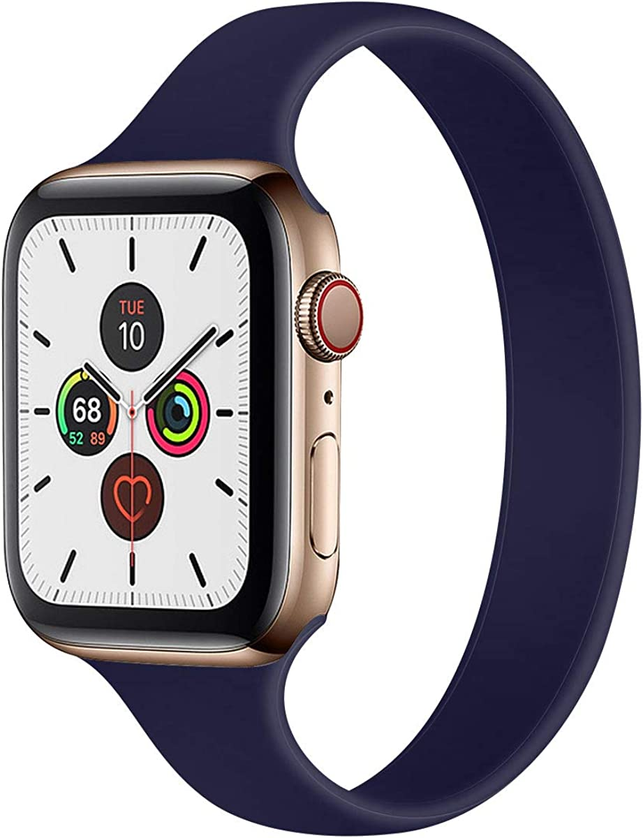 Slim Silicone Solo Loop Band Compatible with Apple Watch Bands 44mm 42mm 40mm 38mm, Elastic Narrow Soft Thin Replacement Wristband for iWatch Series SE/6/5/4/3/2/1 Women & Men