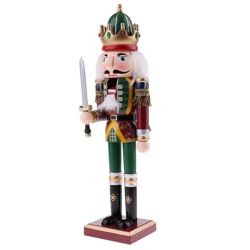 Homyl Vintage 30cm Wood Nutcracker Soldier Figures Figurine Home Desktop Ornaments Children Xmas Birthday Gift #1
