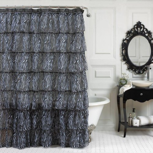 Home Fashions Zebra - LORRAINE HOME FASHIONS Gypsy Zebra Shower Curtain, 70 by 72-Inch, White/Black