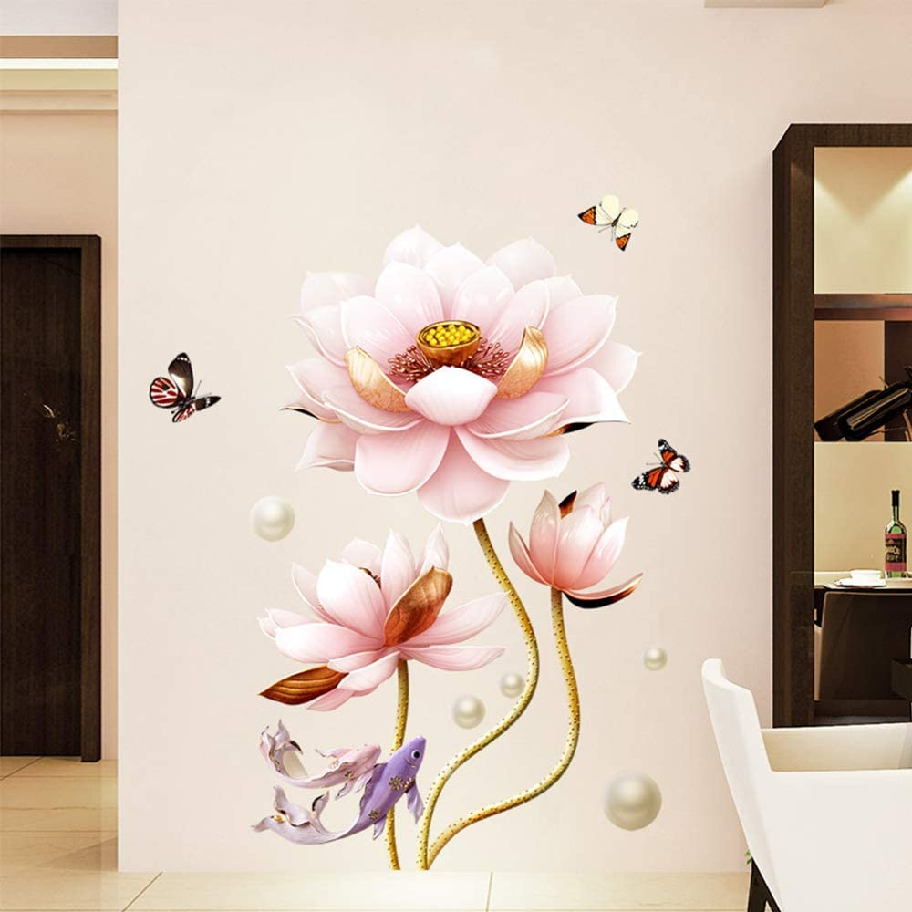 M ACHOOSE 3D Wall Decal Pink Lotus Flowers Plant Butterflies Goldfishs Wall Sticker Peel and Stick Removable Wall Decals Stickers Wallpaper Home Décor for Living Room Girls Room Bedroom (B)