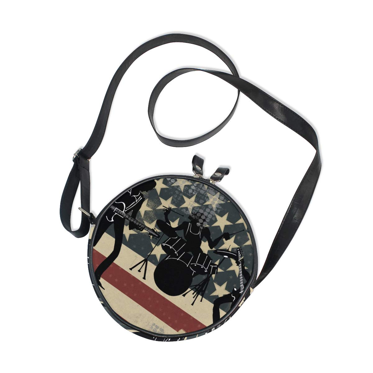 KEAKIA American Band Drums Round Crossbody Bag Shoulder Sling Bag Handbag Purse Satchel Shoulder Bag for Kids Women