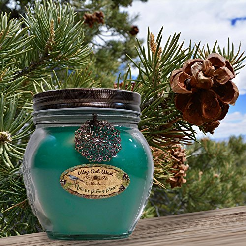 Way Out  West Candles Scented With Native Pinon Pine/Pinyon - Large 17 oz Jar Candle- Southwestern Style -Long Lasting, Soy Wax Blend - A Favorite Gift for Cedar, Balsam, Frasier Fir & Nature Lovers!