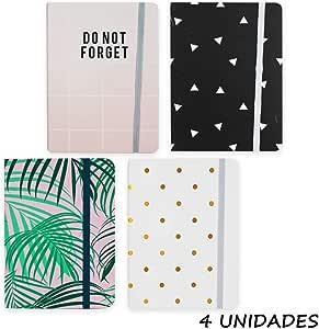 Starplast Pack 4 Libretas Notas, Cuaderno, Interior Rayas, A6, 14x10.5cm, Goma Elástica, Varios Diseños para Uso Escolar, Oficina, Trabajo, etc. 4 Diseños: Amazon.es: Oficina y papelería