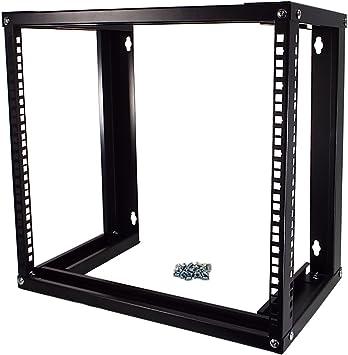 NavePoint 15U Wall Mount Open Frame 19 Server Equipment Rack Threaded 16 inch Depth Black