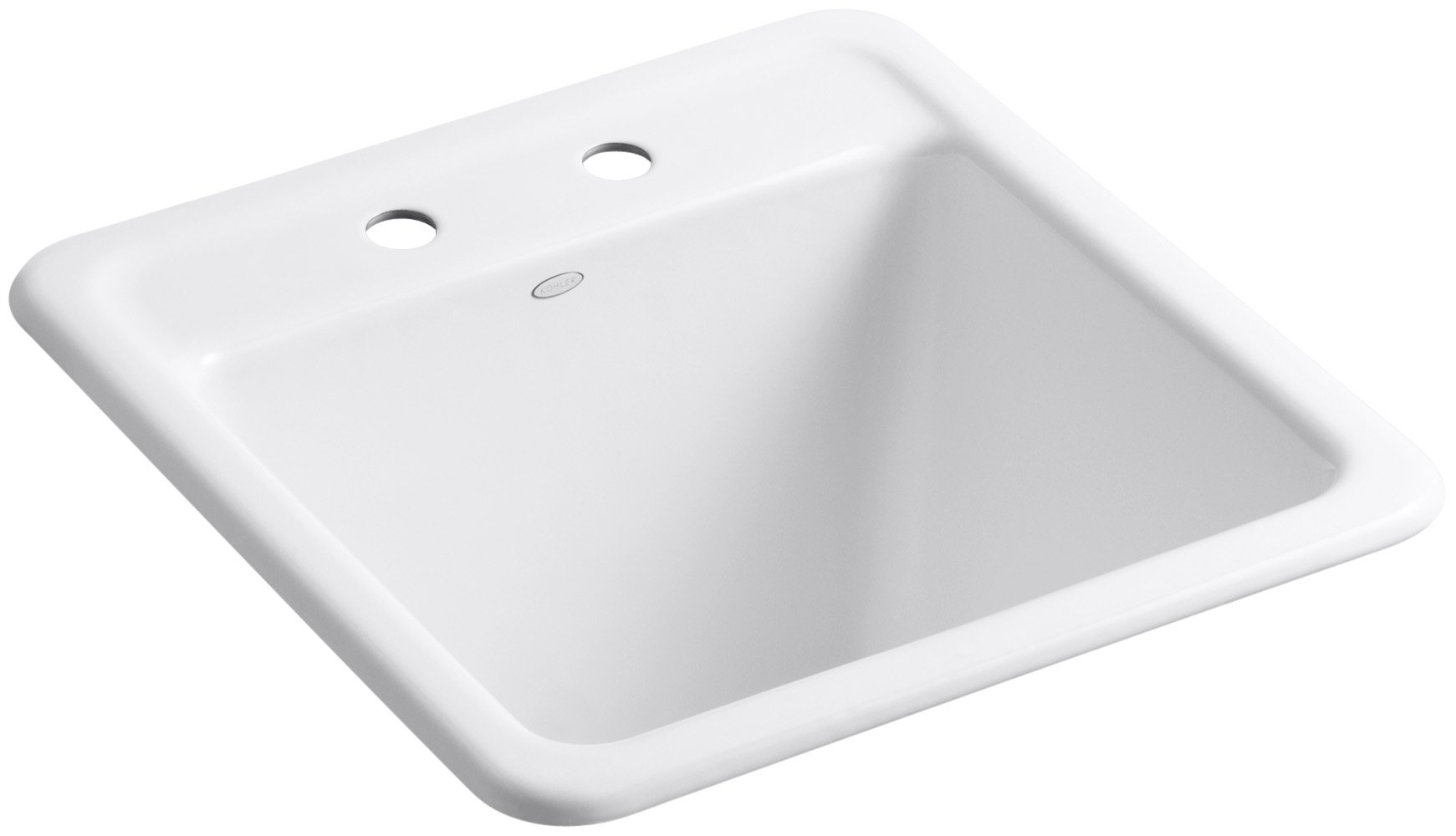 KOHLER K-19022-2-0 Park Falls Top-Mount/Undermount Utility Sink with Two Faucet Holes, White by Kohler