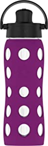 Lifefactory 22-Ounce BPA-Free Glass Water Bottle with Active Flip Cap and Protective Silicone Sleeve, Plum