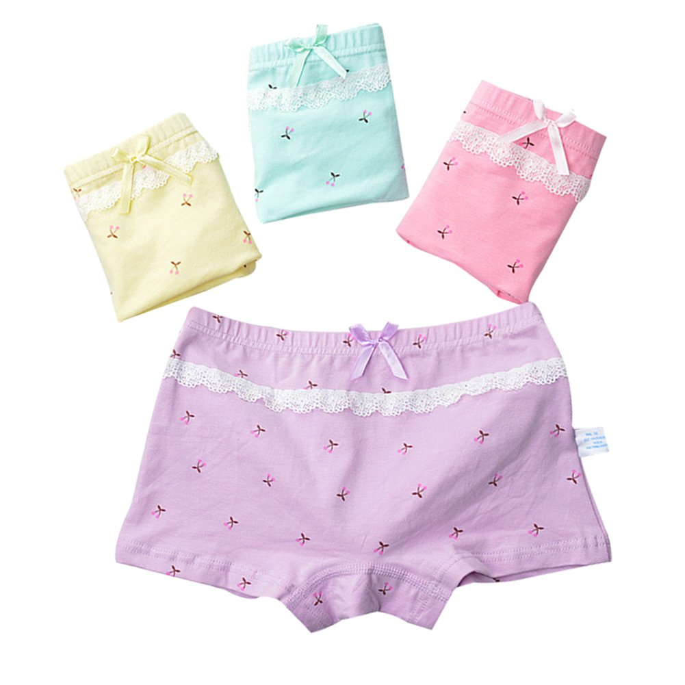 Goodkids Little Big Girls' Breathable Trim Cotton Lace&Bowknot Boxer Briefs Underwear Cherry Panties