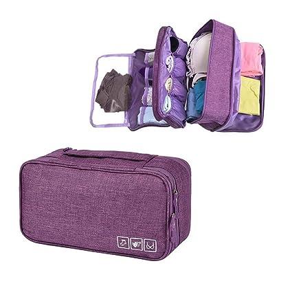 Organizador de sujetadores de viaje, Aolvo Oxford ropa interior organizador impermeable personal toalla de viaje bolsa de maquillaje bolsa de ...