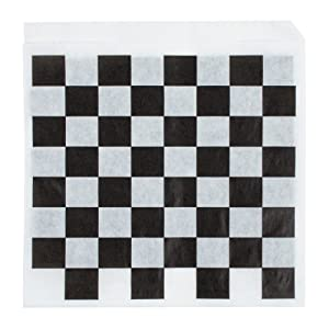 Rustic Pearl Collection Food Grade Tissue Paper Deli Wrappers Double Open Bags, Black and White Check, Pack of 100