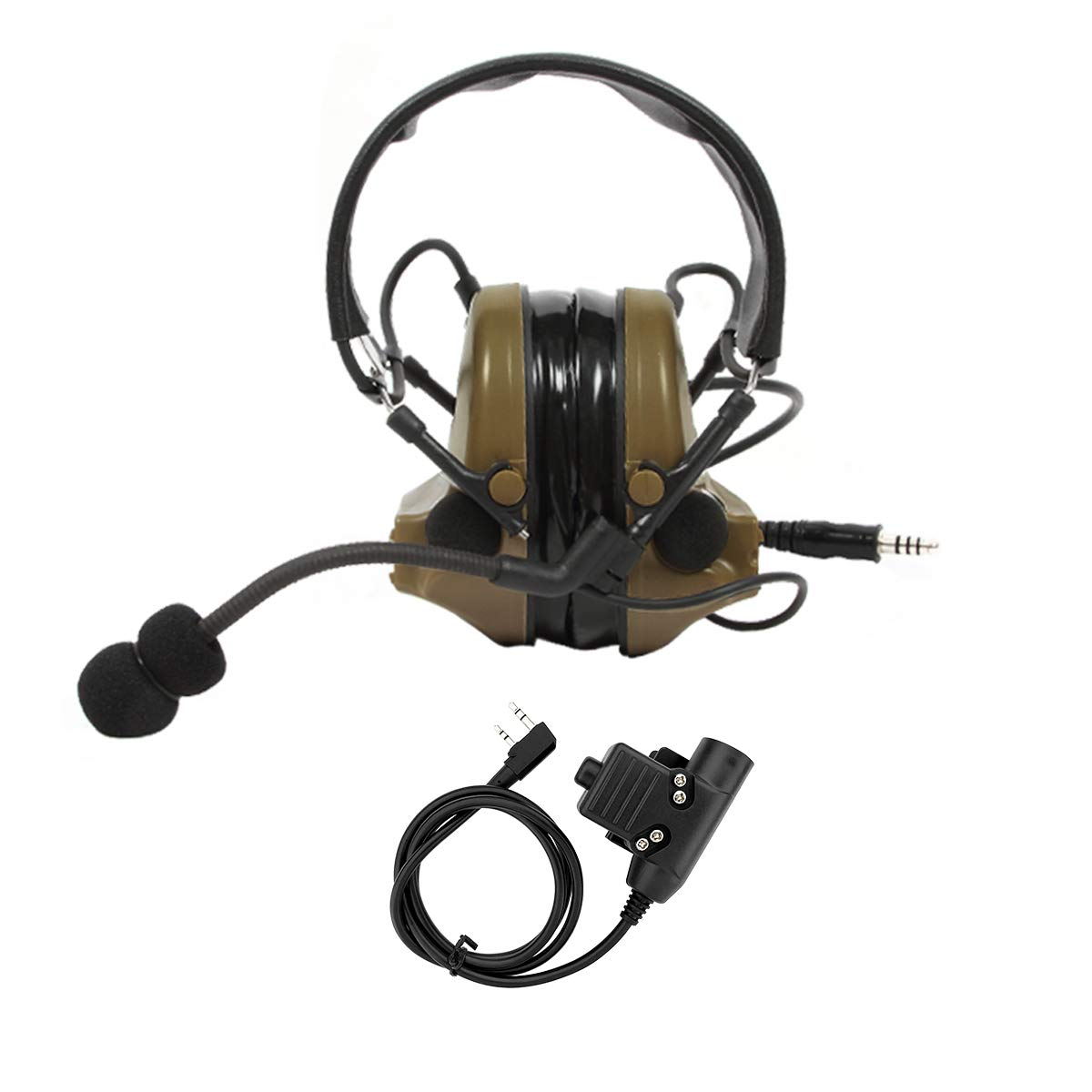 TAC-SKY Electronic Tactical Headset Hearing Defender Noise Reduction Sound Pickup Ear Protection (Coyote Brown)