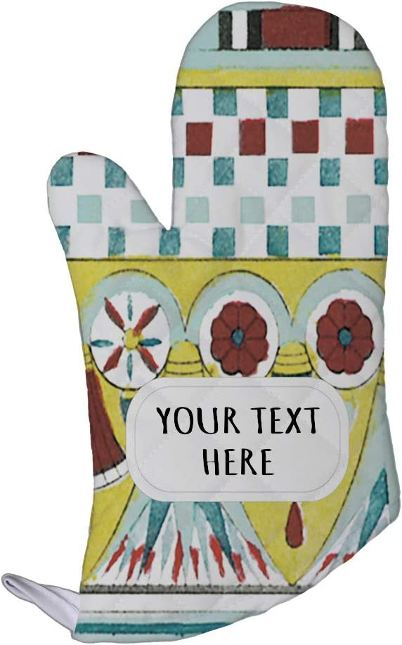Style In Print Polyester Oven Mitt Custom Egyptian Design 6 Pattern Blue Yellow Adults Kitchen Mittens