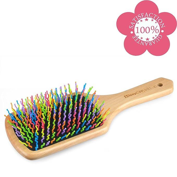 Dianyi Cepillo de pelo bambu pin de Colorido Púas de Nailon neumático requeta: Amazon.es: Belleza