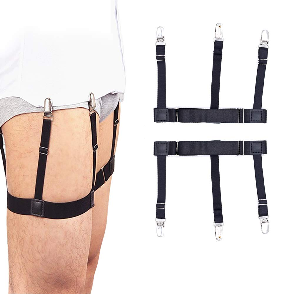 Mens Shirt Stays Shirt Holder Straps Adjustable Elastic Suspenders Garters with with Non-slip Locking Clamps Upgraded Version FJYQOP