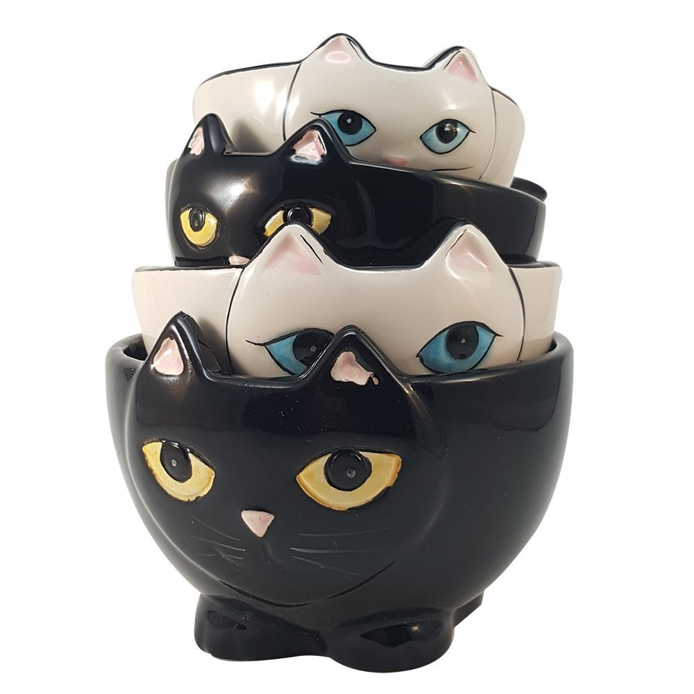 Adorable Ceramic Black and White Cats Nesting Measuring Cup Set of 4 Creative Kitchen Decor Pacific Trading