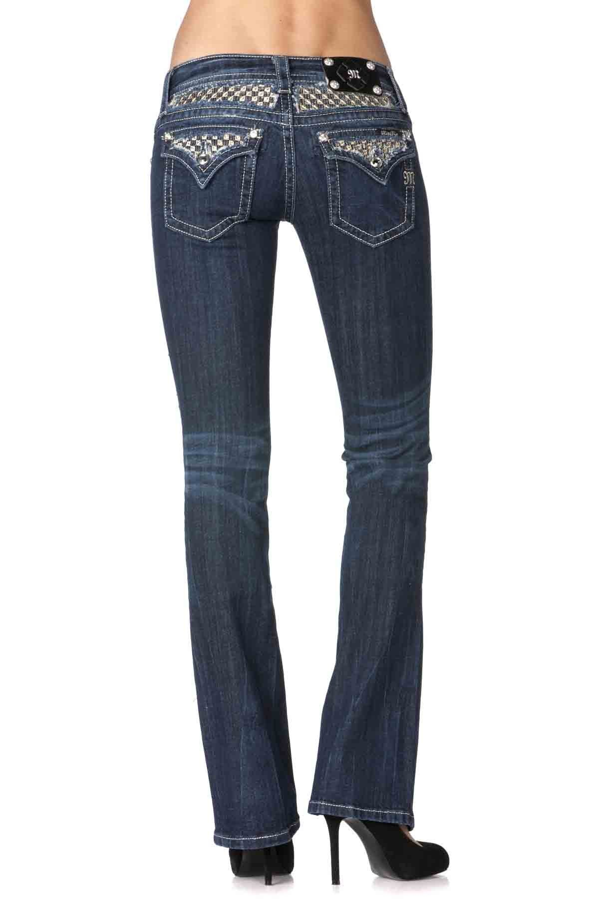 Miss Me Bootcut Jean with Chess Pattern Insert, Dark Blue, 29