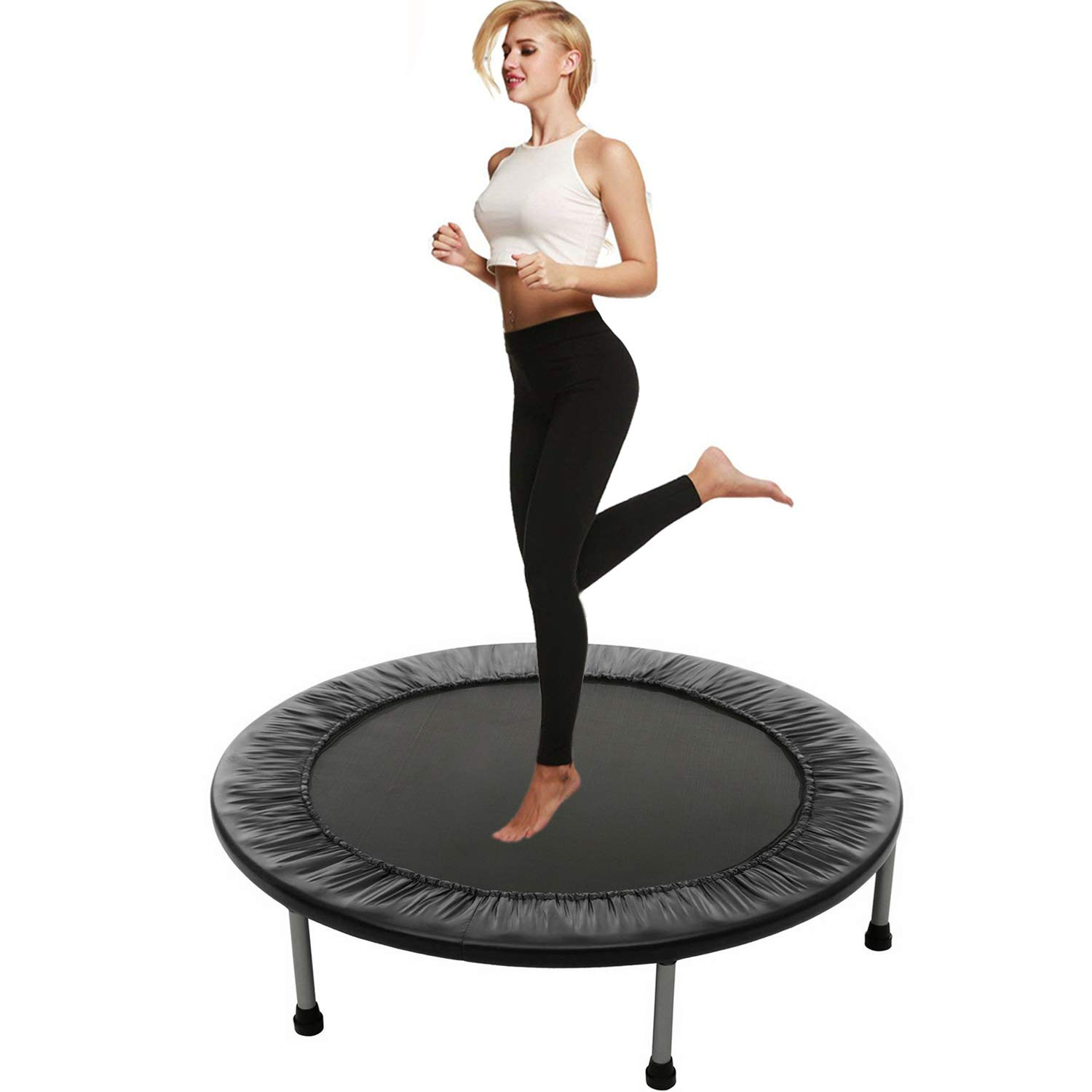 Balanu Mini Exercise Trampoline for Adults or Kids - Indoor Fitness Rebounder Trampoline with Safety Pad | Max. Load 220LBS (Black-38In-Foldable Twice)