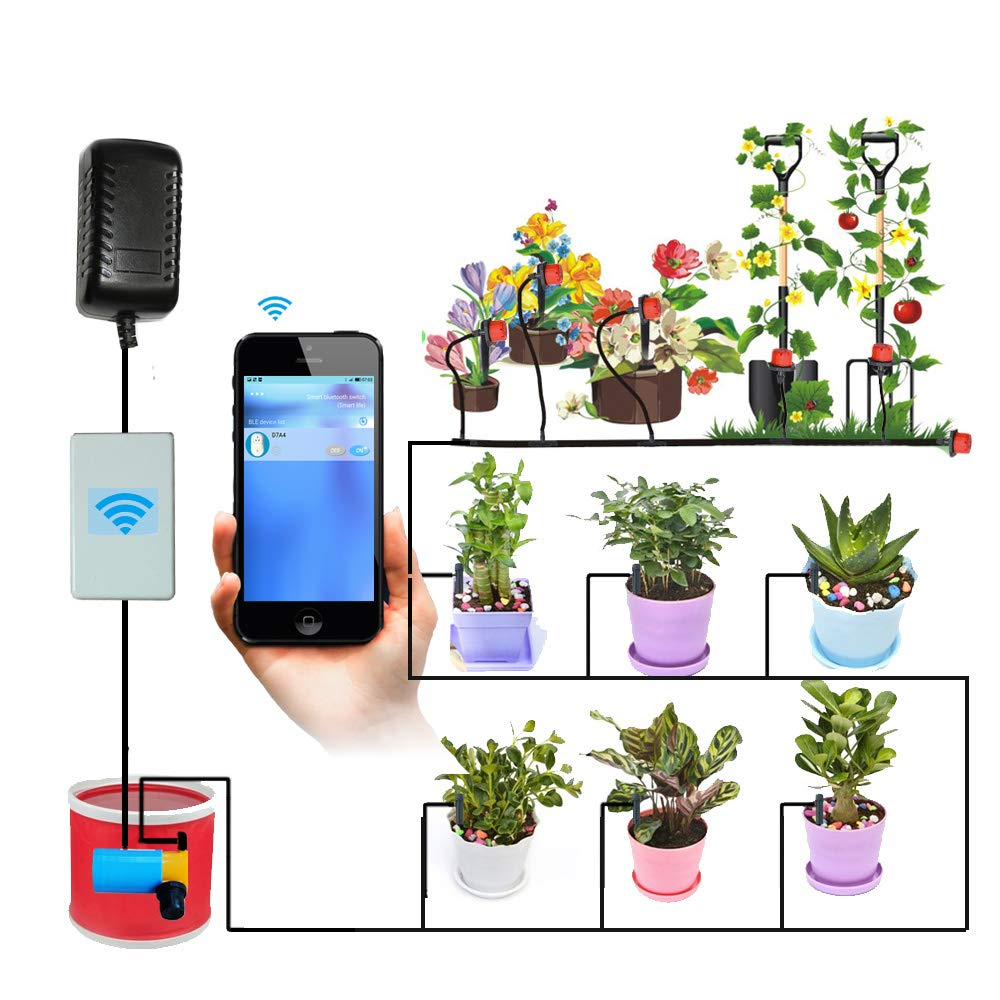 Automatic Watering System Indoor Plant with Bluetooth Timer Switch Auto Irrigation for Indoor Garden Plant Irrigation