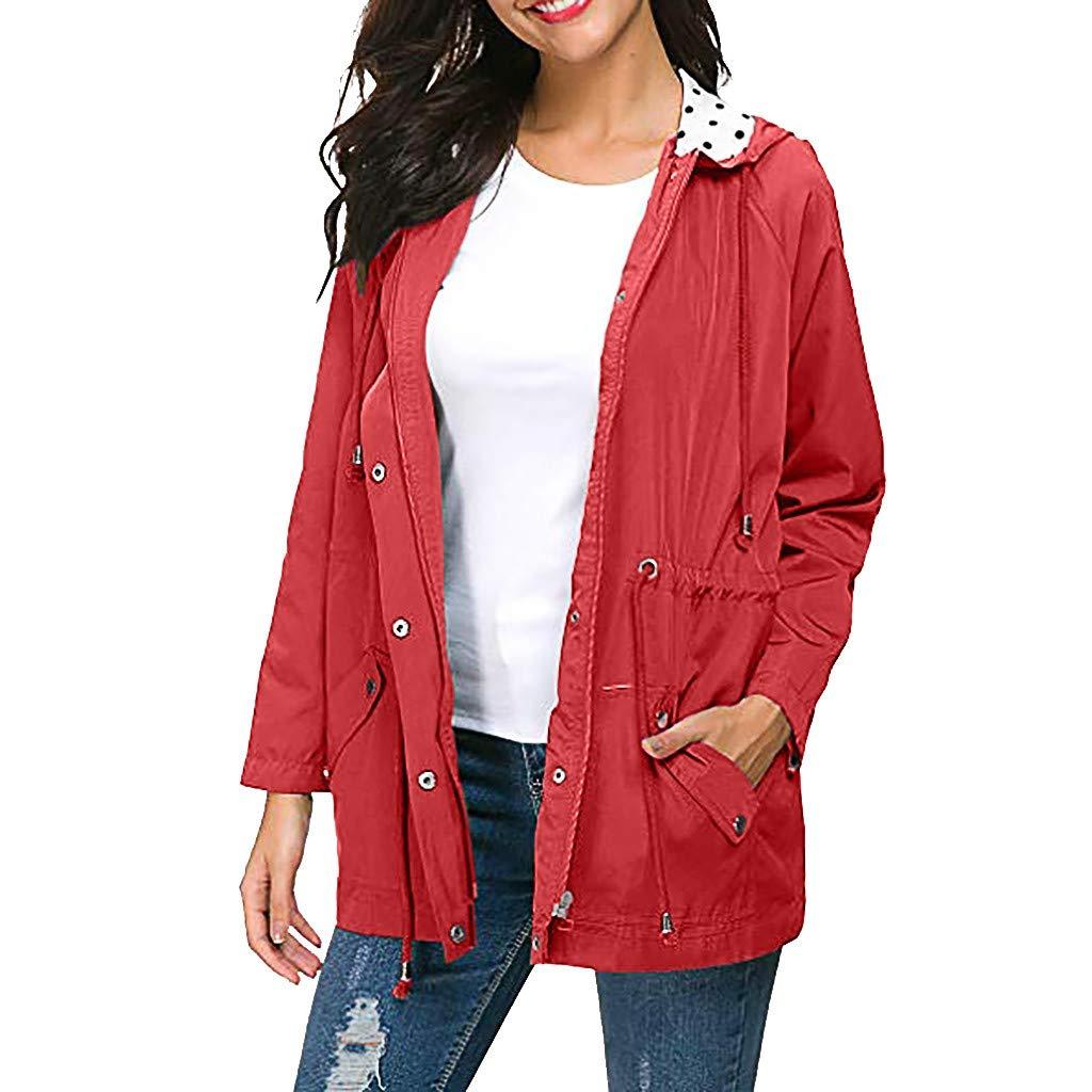 Shusuen Women's Waterproof Raincoat Hooded Rain Jacket Windbreaker Outdoor Trench Coats D Red by Shusuen_Clothes
