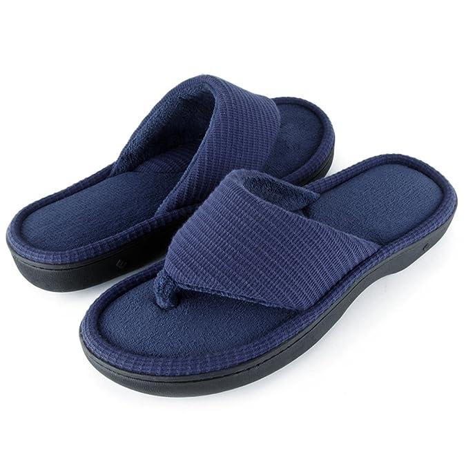 efbf8ec09002 Wishcotton Men s Classic Memory Foam Spa Thong House Shoes Fluffy Flip Flop  Slippers  Amazon.co.uk  Shoes   Bags
