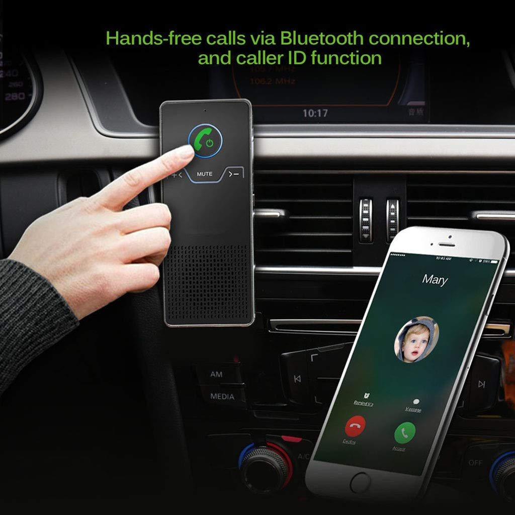 Compatible with iPhone Samsung Smartphones Car Hands Free Bluetooth V4.0 Speakerphone for Cell Phone Wireless Car Kit Audio Receiver Mutipoint Handsfree Sun Visor Speaker