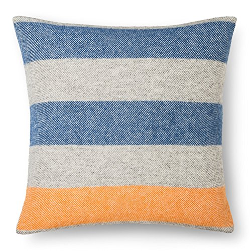 Faribault Woolen Mill Company Wool Pillow Cover with Fringe Edge - Stripe - Heather (Accent Wool Blend)