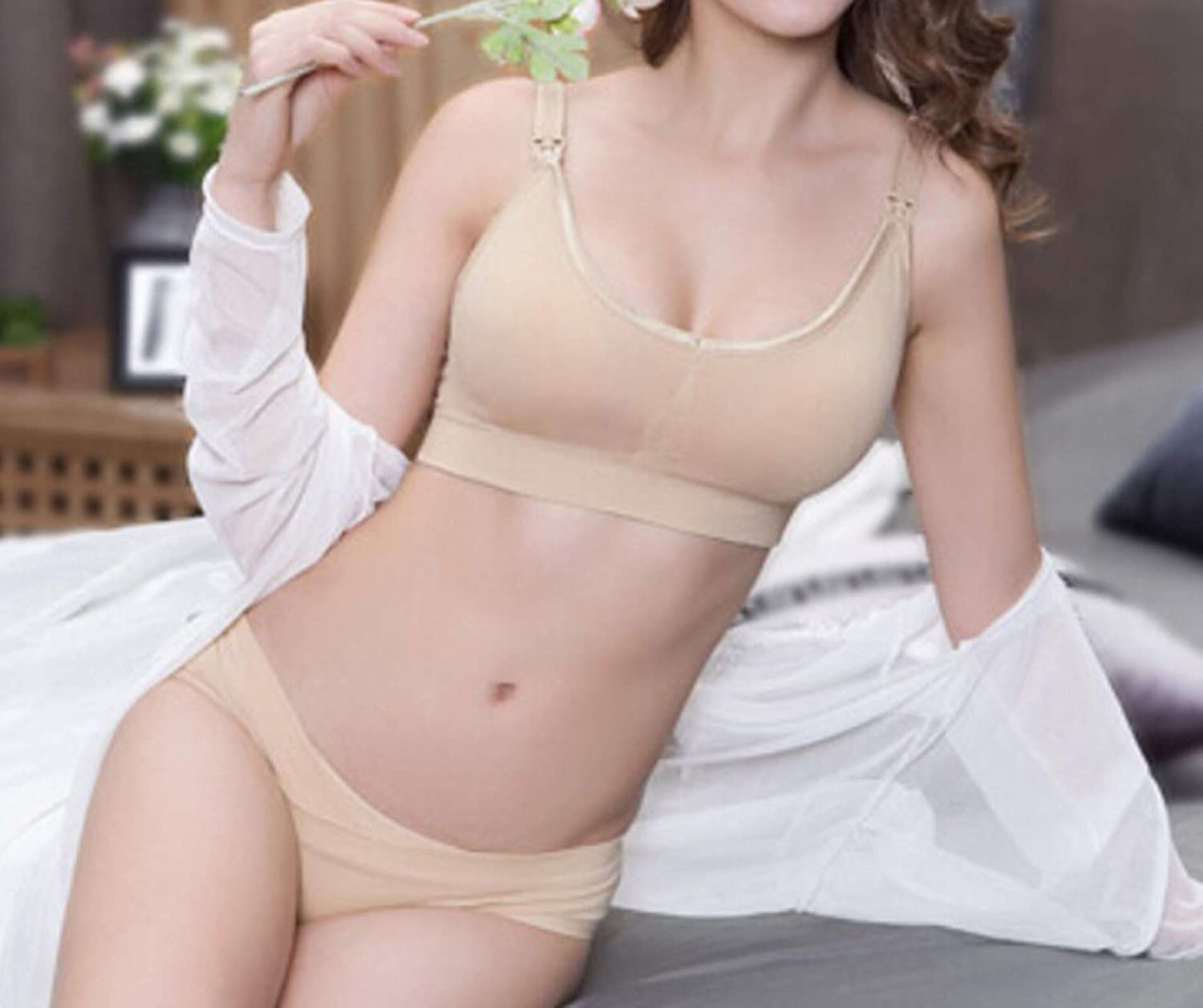 Adisaer-Womens Full Cup Maternity Nursing Bra Nylon Plain Color No-Wired Wireless with Removable Pads