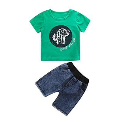 1acb76392 DIGOOD for 0-4 Years Old,Toddler Baby Boys Cactus Print T-Shirt+Short Denim  Pants,Kids 2Pcs Stylish Outfits Clothes Sets