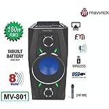 """Mavvrick MV801 180 watts 8"""" woofer Karaoke Bluetooth Trolley Speaker with Remote & Wireless Mic (Black)"""