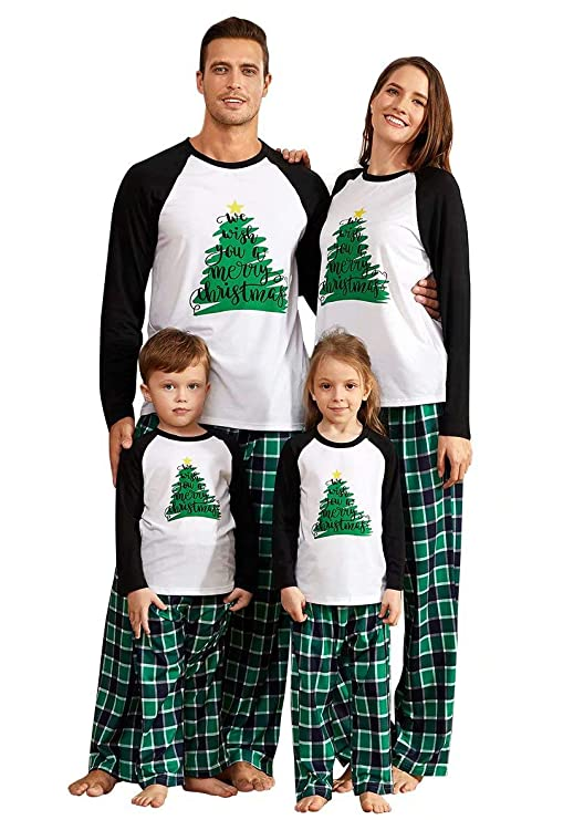 PatPat Family Matching Pajamas Holiday Christmas Tree Printed Sleepwear with Plaid Pants Set for Adult Kids White and Green best Christmas pajamas for families
