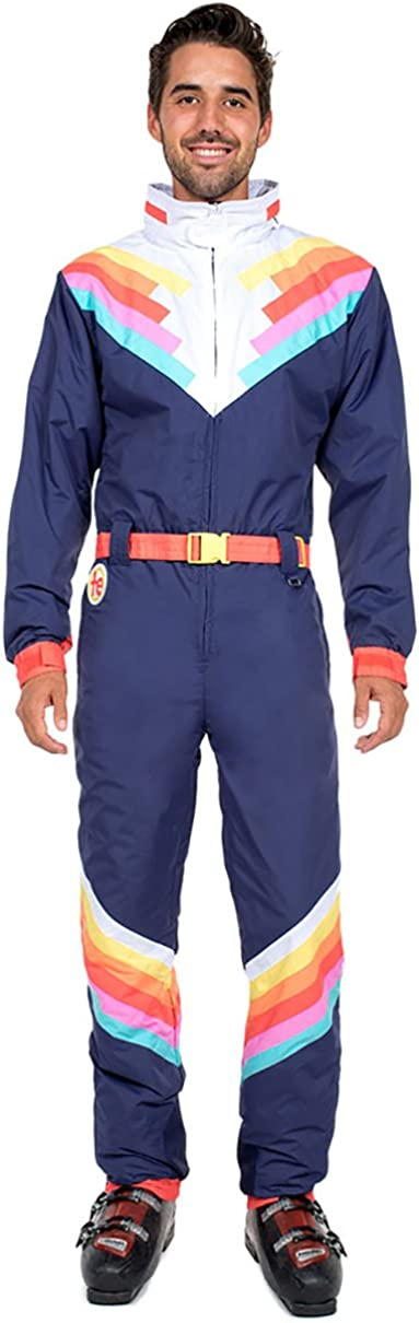 80s Mens Jeans, Pants, Parachute, Tracksuits Mens Santa Fe Shredder Rainbow Ski Suit - Blue Retro Snowsuit Male $199.95 AT vintagedancer.com