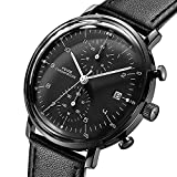 FEICE Quartz Watch Men's Analog Wrist Watch Stainless Steel Leathers Bands Waterproof Watches for Men Casual Business Best Gift #FS021 (Black)