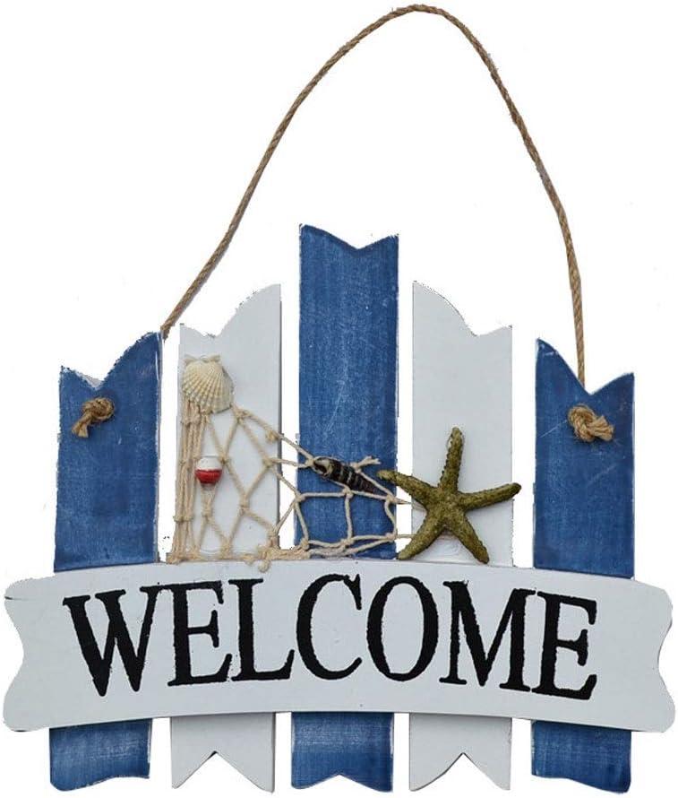Xu Yuan Jia-Shop Cartel de Bienvenida Estilo mediterráneo Creativo Bienvenido Letrero de Madera Inicio Tienda Bienvenido Cartel de Madera Porche Cartel de Madera Exterior decoración